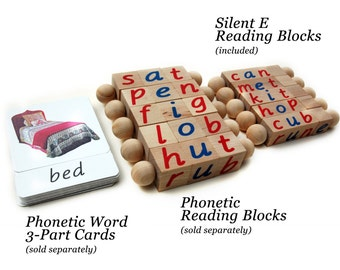 Montessori Silent E Reading Blocks, Educational Toy, Beginning Reader Tools, Long Vowel, Magic E