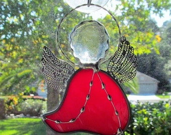 Stained Glass Angel Ornament with Crystal Gem Head and Twisted Wire Halo/Package Embellishments - Name Tags - Tree Ornament - Gift Tags