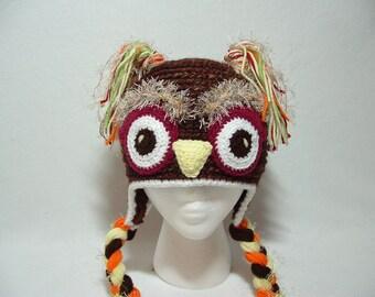Super Fun Warm Owl Boy Girl Hat. Fuzzy Eyebrows.Black or Marble Brown. Bland Lamb's Wool and Acrylic