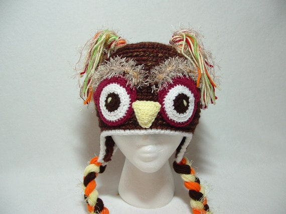 Super Fun Warm Owl Boy Girl Hat. Fuzzy Eyebrows.Black or Marble Brown. Bland Lamb's Wool and Acrylic