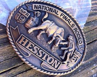 Hesston Bronze Commemorative Buckle, 1981 National Finals Rodeo