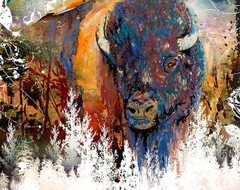 Buffalo Watercolor Print Buffalo Painting Southwestern