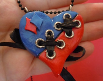 Harley Quinn Corset Heart Necklace, Polymer Clay Necklace, Lace Up Harley Necklace