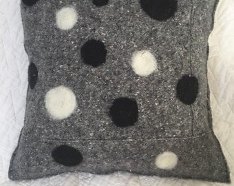 Wool felted pillow with polka dots