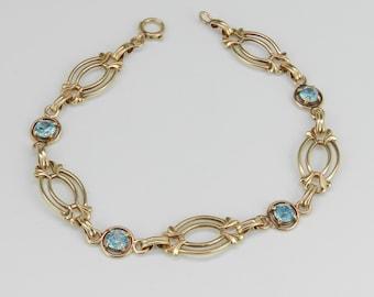 Antique Vintage Blue Zircon Bracelet 14K Yellow Gold Circa 1950's