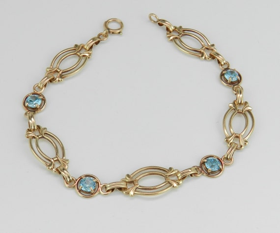 Antique Vintage Blue Zircon Bracelet 14K Yellow Gold Circa 1950's