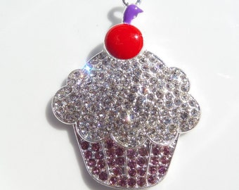 40mm Cupcake Rhinestone Pendant For Chunky Necklace Making, P12
