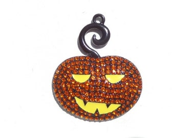 42mm*38mm, Whimsical Orange Pumpkin Rhinestone Pendant for Halloween, P9