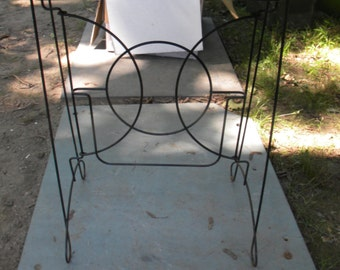 cool vintage 1950s mid century wire colapsible tv TRAY PLANT STAND