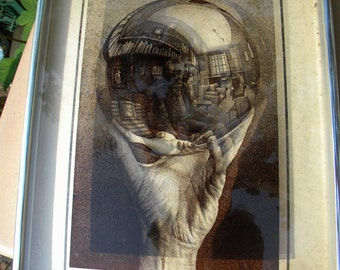 scarce 3d m c ESCHER framed abstract print LITHOGRAPH on glass reflecting orb in hand