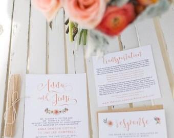 Modern Feminine Floral Wedding Invitation Suite