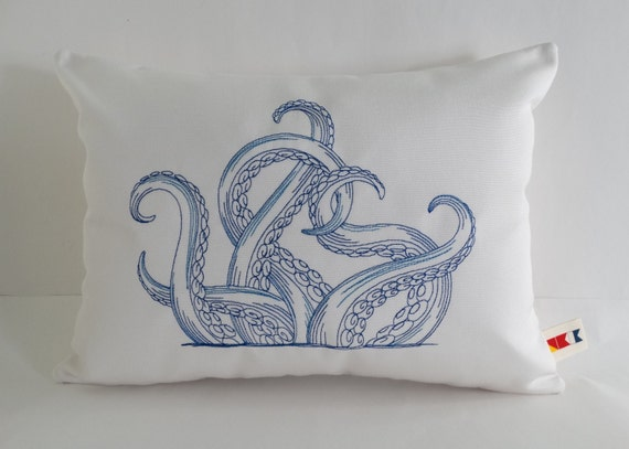 Embroidered 12 x 16 Octopus Pillow
