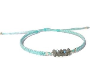 natural labradorite gemstone bead dainty layering friendship bracelet. adjustable