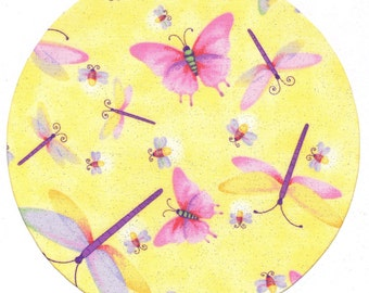 Yellow Dragonfly Fabric Covered Mouse Pad Mousepad Mat
