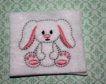 Easter bunny feltie, Full body bunny w/ floppy ears, Easter felt stitchies, DIY, uncut feltie 4 pcs, for hair accessories & scrapbooking
