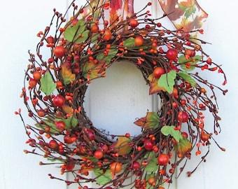 Mini Window Wreath - Mini Fall Wreath - Mini Wreath - Orange Pip Berry Wreath - Summer Wreaths - Primitive Wreath