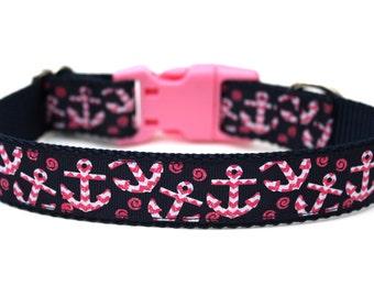 "Nautical Dog Collar 1"" Anchor Dog Collar SIZE SMALL"