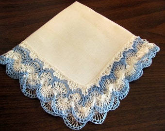 Ladies Hankie with Blue Crocheted Trimmed Edge
