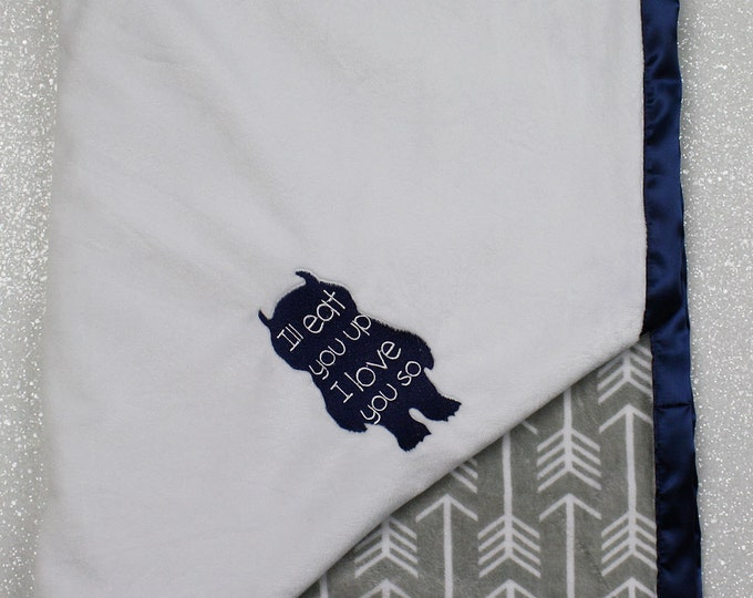 Customizable Minky Blanket, baby boy blanket, wild things blanket, monster blanket, baby boy, modern baby blanket, arrow, archer minky