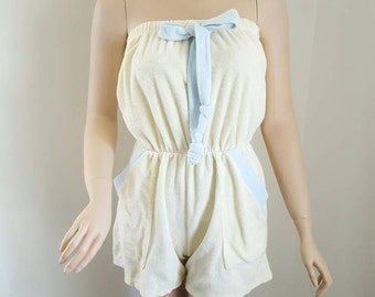 Vintage 80's Terrycloth Romper In Pale Yellow and Sky Blue