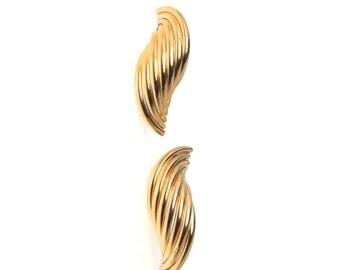 Vintage 14k Gold Wave Post Earrings