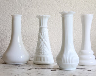 Vintage Small Milk Glass Bud Vases, Various Patterns, Set of 4, Wedding or Party