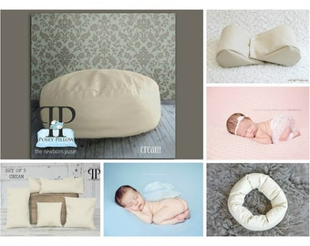 Starter set # 21 ~ Travel size Posey Pillow, Squishy Poser, Doughnut Poser, and set of 5 positioners. Newborn Photo Props by Posey Pillow
