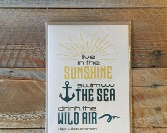 Sunshine Sea Wild Air - Greeting Card - Everyday New Adventure