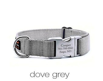 WINTER SALE 15% off Laser Engraved Personalized Buckle Webbing Dog Collar - Dove Grey