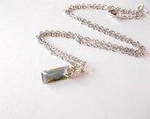 Paradise Shine Necklace, Gift for Her, Rhodium Jewelry, Swarovski Elements Baguette Necklace