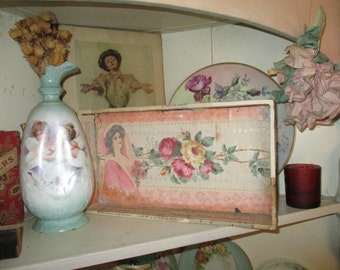 Vintage Drawer Collage Display Shelf OOAK Photo Backdrop Jewelry Roses Romantic Home Decor