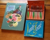 1952 Mid-Century Watkins Hearthside Cookbook Cook Book PLUS Awesome Little Forks in Orig Box 1950s 60s Kitchen Free Ship!
