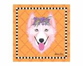 Husky Pet Portrait Art Print Illustration Wrapped Canvas 12x12x.75 Siberian Husky