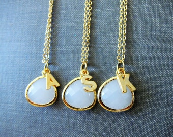Personalised Gold Necklace Name Necklace Monogram Initial White Bridesmaid Necklace Gift Set Modern Jewelry Layered Necklace C1