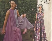Vogue Couturier Design Vintage Pattern 1865 Emilio Pucci Cocktail, Evening Gown Palazzo Pant Culotte Jumpsuit Dress Size 10 ©1967