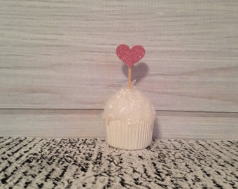 Pink Glitter Heart Cupcake Toppers Wedding Cupcake Toppers Valentines Day Birthday Appetizer Horderves Food Picks