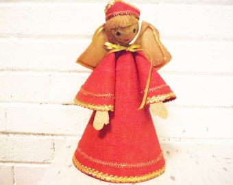 Vintage  burlap angel mid century craft homemade red and tan kitsch
