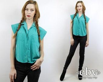 Vintage 80s Green Blouse S M 80s Shirt 80s Blouse Secretary Blouse Work Blouse