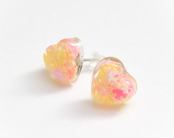 Spring Pastel heart stud earrings - pink and yellow earrings, pastel pink jewelry, kawaii jewellery, cute studs, summer, spring, glitter