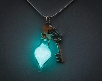 Glowing Necklace - glow in the dark tear drop bottle pendant with key charm, blue glow