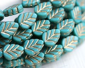 Leaf beads - Turquoise beads, golden inlays, Czech glass pressed leaves - 11x8mm - 10Pc - 0508