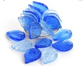 30%OFF SALE Blue leaves, Czech glass Leaf Beads mix, blue, large, flat, blue beads - 18mm - 12Pc - 0432