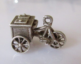 Silver Ice Cream Cycle Cart Charm
