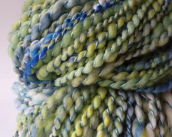 Hand Spun Australian Merino Wool Yarn in Green and Blue 2 Ply 11288