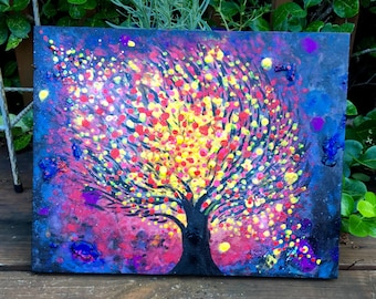 "Supernovae ORIGINAL Art ""Tree Series 48"" 11x14"" Acrylic Glow Painting Watercolors FREE SHIPPING Blacklight Neon Nature"