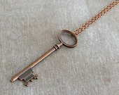 Copper Key Necklace  .. skeleton key necklace, key jewellery, rustic, copper, layering necklace, steampunk, copper pendant