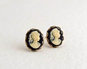 Black Cameo Earrings .. cameo studs, black ivory earrings, small earrings