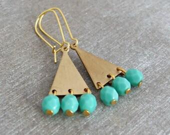 Gold Triangle Earrings .. triangle earrings, geometric earrings, brass earrings, aqua earrings