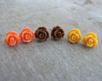 Rose Earrings Set .. flower studs, flower earrings set, small flower earrings, flower post earrings