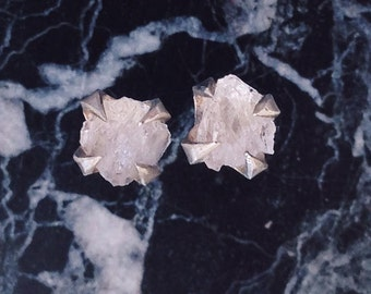 Claw Quartz Earrings - Sterling Silver